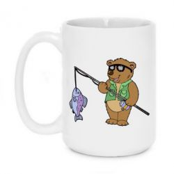 Кружка 420ml Медведь ловит рыбу - FatLine