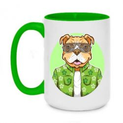 Кружка двоколірна 420ml A dog with glasses and a shirt
