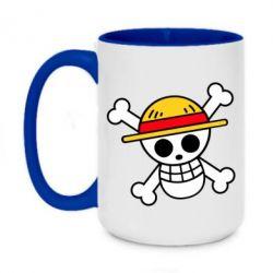 Кружка двоколірна 420ml Anime logo One Piece skull pirate