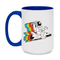 Кружка двоколірна 420ml Astronaut on a rocket with a tape recorder
