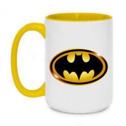 Кружка двоколірна 420ml Batman logo Gold