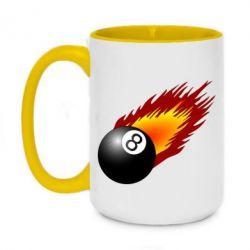 Кружка двухцветная 420ml Бильярдный шар в огне