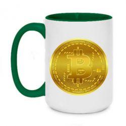 Кружка двоколірна 420ml Bitcoin coin