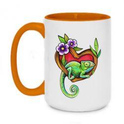 Кружка двухцветная 420ml Chameleon on a branch
