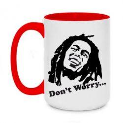 Кружка двухцветная 420ml Don't Worry (Bob Marley)