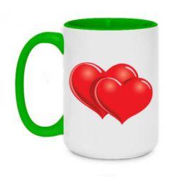 Кружка двухцветная 420ml Два сердца