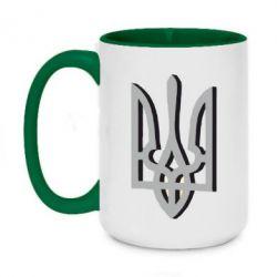 Кружка двухцветная 420ml Двокольоровий герб України