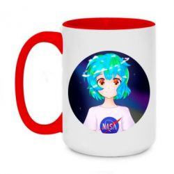 Кружка двоколірна 420ml Earth-chan in a T-shirt with a Nasa logo