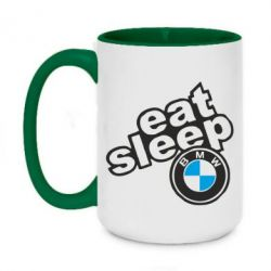 Кружка двоколірна 420ml Eat, sleep, BMW