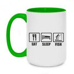 Кружка двоколірна 420ml Eat, sleep, fish