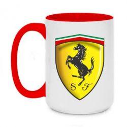 Кружка двухцветная 420ml Ferrari 3D Logo