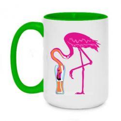 Кружка двоколірна 420ml Flamingo drinks beer