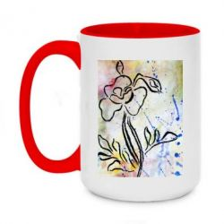 Кружка двухцветная 420ml Flower painting and watercolor splashes