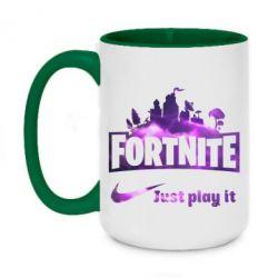 Кружка двоколірна 420ml Fortnite just play it