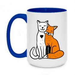 Кружка двоколірна 420ml Fox and cat heart