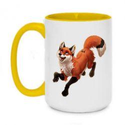 Кружка двухцветная 420ml Fox in flight