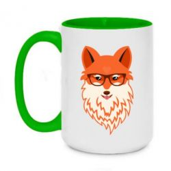 Кружка двухцветная 420ml Fox with a mole in the form of a heart