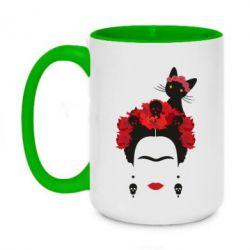 Кружка двухцветная 420ml Frida Kalo and cat