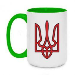 Кружка двухцветная 420ml Герб України (двокольоровий) - FatLine