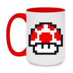 Кружка двухцветная 420ml Гриб Марио в пикселях