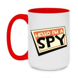 Кружка двоколірна 420ml Hello i'm a spy