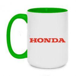 Кружка двоколірна 420ml Honda напис