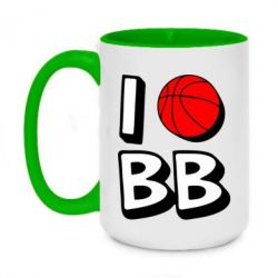 Кружка двухцветная 420ml I love basketball
