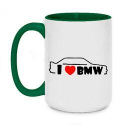 Кружка двухцветная 420ml I love BMW