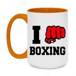 Кружка двухцветная 420ml I love boxing