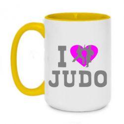 Кружка двухцветная 420ml I love Judo