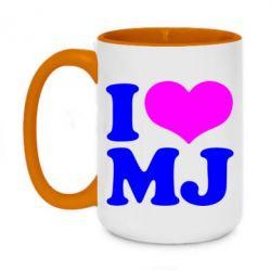 Кружка двухцветная 420ml I love MJ