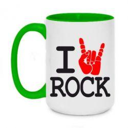 Кружка двухцветная 420ml I love rock - FatLine
