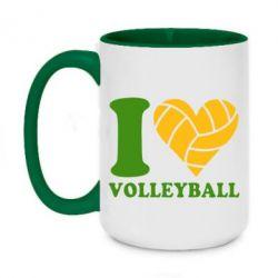 Кружка двоколірна 420ml I love volleyball