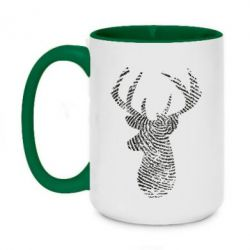 Кружка двоколірна 420ml Imprint of human skin in the form of a deer