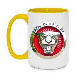 Кружка двухцветная 420ml Jaguar emblem