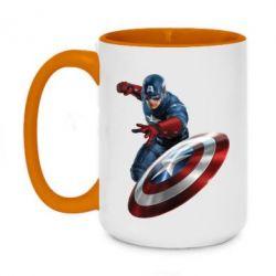 Кружка двухцветная 420ml Капитан Америка