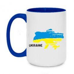 Кружка двухцветная 420ml Карта України з написом Ukraine - FatLine