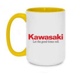 Кружка двоколірна 420ml Kawasaki. Let the good times roll.