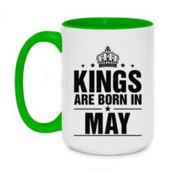 Кружка двухцветная 420ml Kings are born in May - FatLine