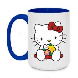 Кружка двухцветная 420ml Kitty с букетиком