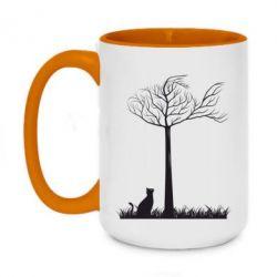Кружка двухцветная 420ml Кот прыгает на дерево