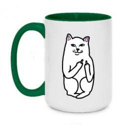 Кружка двухцветная 420ml Кот с факом