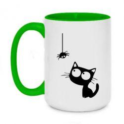 Кружка двухцветная 420ml Котик и паук