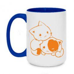 Кружка двухцветная 420ml котята - FatLine