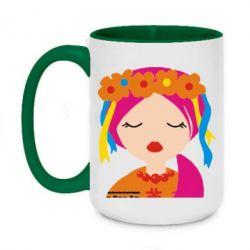 Кружка двухцветная 420ml Красива україночка - FatLine