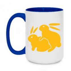 Кружка двухцветная 420ml Кролики - FatLine