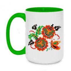 Кружка двухцветная 420ml Квіти України
