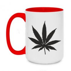 Кружка двоколірна 420ml Листочок марихуани