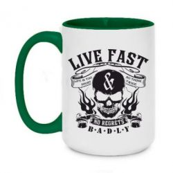 Кружка двоколірна 420ml Live Fast and No Regrets Badly