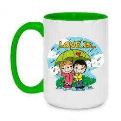 Кружка двоколірна 420ml Love is ... in the rain